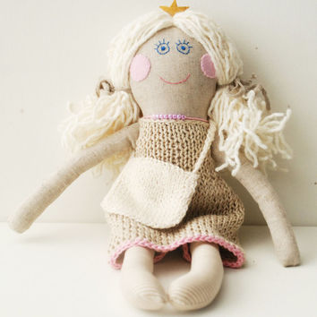 Rag Doll, Princess Doll in Knitted Dress, Stuffed Doll for Girl, Rag Doll with Bag, Cloth Doll for Girl, Birthday Gift, Handmade Fabric doll