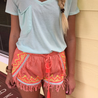 Drawstring Linen Shorts With Embroidery And Fringe