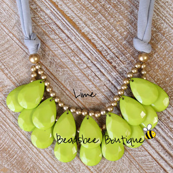 Anthropologie Lime Green Necklace, Bib Necklace, Lime Green Statement Necklace, Teardrop Necklace, Statement Necklace