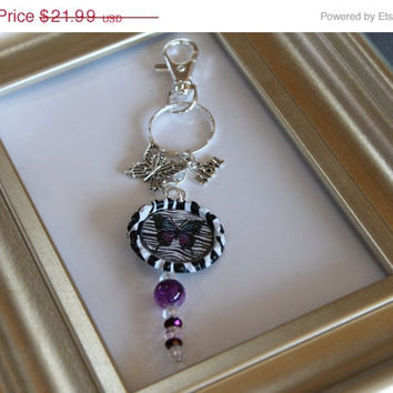 SALE Lupus Awareness-key chain with lobster clip-Swarovski crystals, zebra butterfly bottle cap, long crystals,butterfly and hope charms
