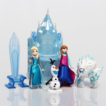 6pcs. Princess Elsa Sven Olaf Anna Kristoff Ice Castle Palace PVC Action Figure Toys Kids Girls Dolls Christmas Gift