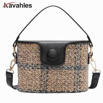2018 Brand Bucket Crossbody Bags For Women Knitting Women Messenger Bag Casual Tote Designer Handbags High Quality Sac PP-1176