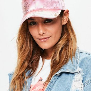 Missguided - Pink Oriental Print Satin Cap