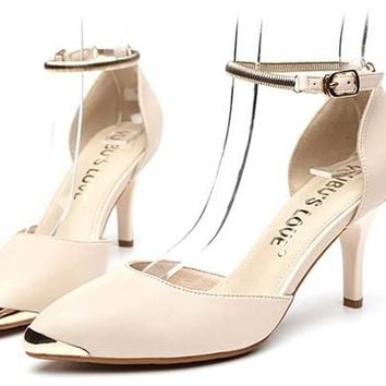 Sweet  Genuine Leather High Heels Women Pumps Gold Mental Point Toe Shoes Bright Ankle Strap Shoes Black Red Pink Apricot