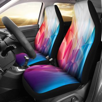 Polygon Rainbow Abstract Design Seat Covers