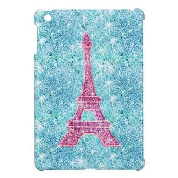 Girly Pink Eiffel Tower Trendy Teal Glitter Photo Case For The iPad Mini from Zazzle.com