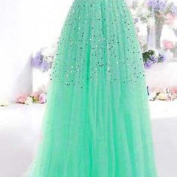 Green Sequin Strapless Bandeau Prom Dress