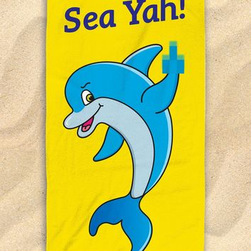 "Sea Ya Dolphin Beach Towel - Cute Dolphin Towel  - Hit The Beach In Style [Gift Idea / Fun Present] Dolphin Gifts 30""x60"""
