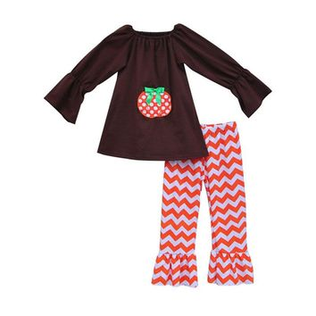 Drop Ship Girls Clothing Sets Cute Pumpkin Pullover Tops Orange Chevron Ruffle Pants Knitted Cotton Halloween Baby Clothes H008