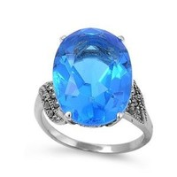 High Fashion Sterling Silver Oval CZ Design Marcasite Ring with Blue