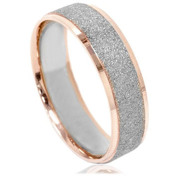 Mens Two Tone Wedding Ring 14K White & Rose Gold 6MM Brushed Band Size (7-12)