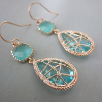 Aquamarine Blue Earrings Twisted Design Bridesmaid by laalee