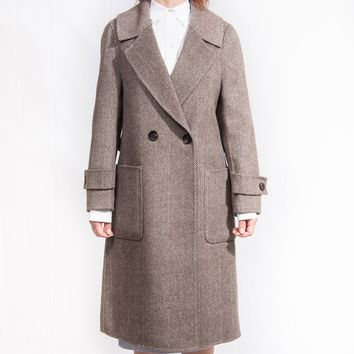 Cashmere & Wool Notched Lapel Two-Button Straight Pocket with Back Belt Coat