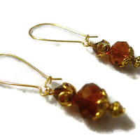 Focus on Dark Gold Glass Faceted Crystals and Bicone Beads Handcrafted Dangle Earrings 138