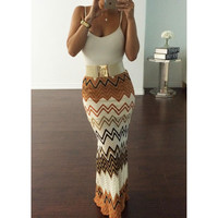 Women's  Fashion Multicolor Print Skirt