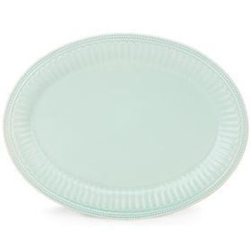"French Perle Groove Ice Blue 16"" Oval Platter by Lenox"