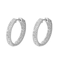 Sterling Silver 2 Row Lab diamonds Medium Hoop Earrings