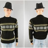 1970s - 1980s Vintage / Cable Knit Alpine Ski Sweater / Silton of California / Size M 38-40 / 100% Acrylic / Made in Taiwan / Crew Neck