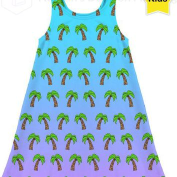 Palm trees Blue Ombre Kids Dress