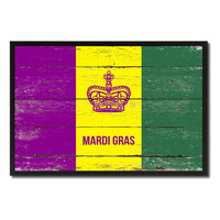New Orleans Mardi Gras Flag Vintage Canvas Print with Black Picture Frame Home Decor Wall Art Collectible Decoration Artwork Gifts