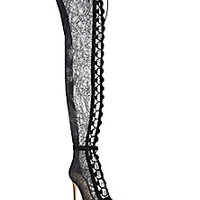 Gianvito Rossi - Rebecca Over-The-Knee Lace Peep-Toe Boots - Saks Fifth Avenue Mobile