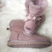 UGG tide brand winter plus velvet warm non-slip bow female short tube snow boots pink