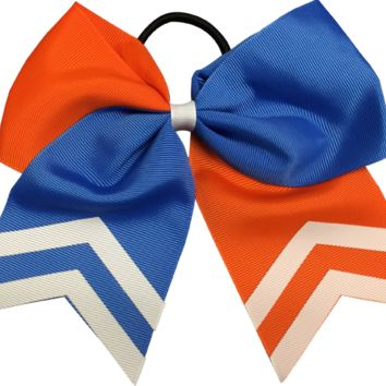 Softball Hair Bow- Orange & Blue