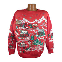 Ugly Christmas Sweater Vintage Sweatshirt Winter Wonderland Tacky Holiday