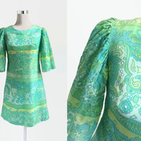 Vintage 60s Mini Dress - 1960s Vintage Dress - Pale Green And Yellow Psych Print Dress