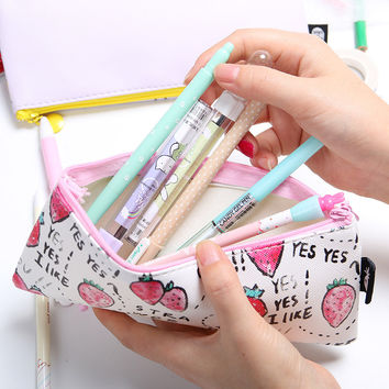 1 pcs High Quality School Supplies Cute Originality Fruit Pattern Pencil Case PU Leather Pencil Bag Cartoon Storage Bag