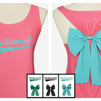 Now!!! Sale 20% from 32.99$ Bridesmaid Tank Premium with Bow : Dolly Bow Handmade Premium Tank with Bow styles, bow tank, cute tank.