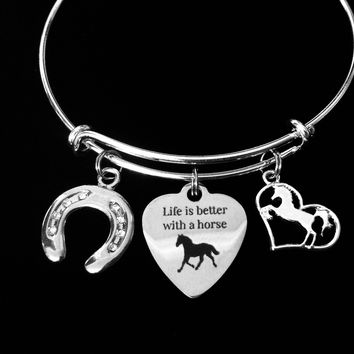 Life is Better With A Horse Adjustable Bracelet Expandable Silver Charm Bangle Horseshoe Horse Lover Gift