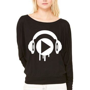 music play WOMEN'S FLOWY LONG SLEEVE OFF SHOULDER TEE