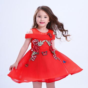 Fashion Girl's Dresses embroidered Flower pattern girl Party princess Dress Costumes baby Girl Luxurious dress