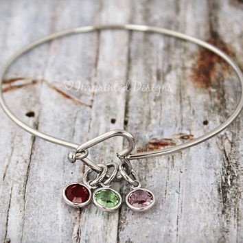 Heart Birthstone Bangle - Alex And Ani Style Bracelet - Mother Bracelet - Personalized - Grandmother - Adjustable - Birthstone - Grandma