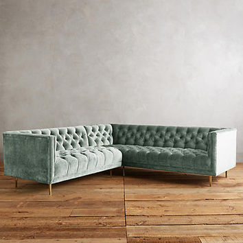 Slub Velvet Mina Left Sectional