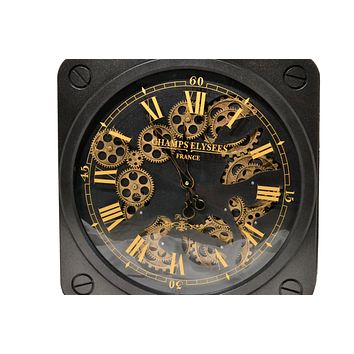 Moving Gear Wall Clock Creative Art Decor Retro Roman Watch Black 19.5""