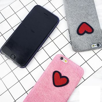 Fashion Warm Fuzzy Case  For iPhone 6 6S 7 8 Plus X Soft TPU Phone Cases Cute Loveing Heart