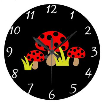 Mushrooms Round Clock