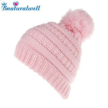 Bnaturalwell Kids Brand Hat Child Boys girls Warm hat Baby Winter Knit Beanie Crochet Thick Ski Cap Knitted Hat with ball H063D