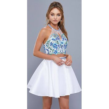 White Two-Piece Embroidered Crop Top Homecoming Short Dress