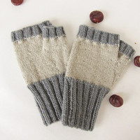 Wool knitting fingerless glove  Winter warm mittens Beige and gray knit mittens  Gift idea for man