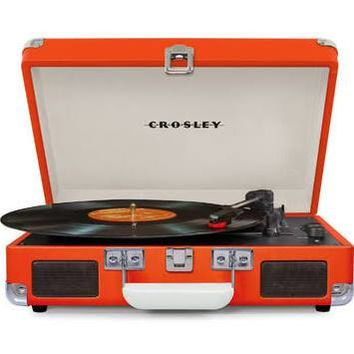 Crosley Cruiser Deluxe Retro Turntable with Bluetooth CR8005D - It's Portable! - Orange Vinyl