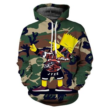 Bart Simpson Dabbing Camouflage All Over Full Print 3D Diy Sublimated Brown & Green Polyester Blend Unisex Pullover Hoodie