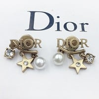 Dior  Fashion new pearl letter diamond star long earring women accessory Golden