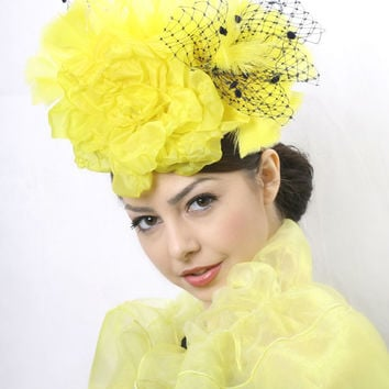 Shiny Yellow Royal Ascot Fascinator, Kentucky derby hat, Haute Couture hat, Wedding party head piece satin rose flower with black veil decor