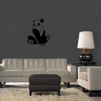 Wall Mural Vinyl Decal Sticker Design Interior Panda Bear with clutches OS523
