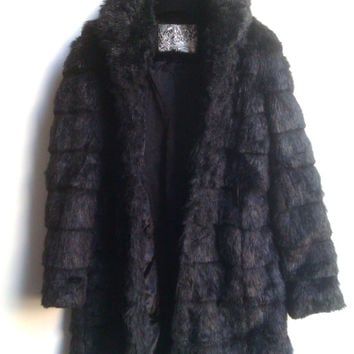 Fake Fur Coat Faux Fur Black Coat Petite Size Fake Fur Coat Size XS,UK Size 6,EU 34 Vegan Coat