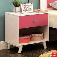 Alivia Transitional Night Stand, Pink and White