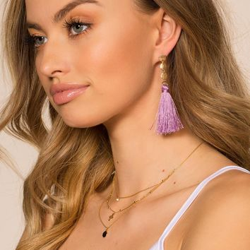 Samantha Fringe Earrings - Lavender
